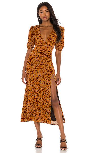 Privacy Please Emmy Midi Dress in Orange,Black in copper / leopard