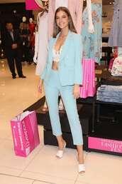 pants,tirquoise,barbara palvin,model off-duty,victoria's secret,victoria's secret model,suit,blazer,sandals,bralette
