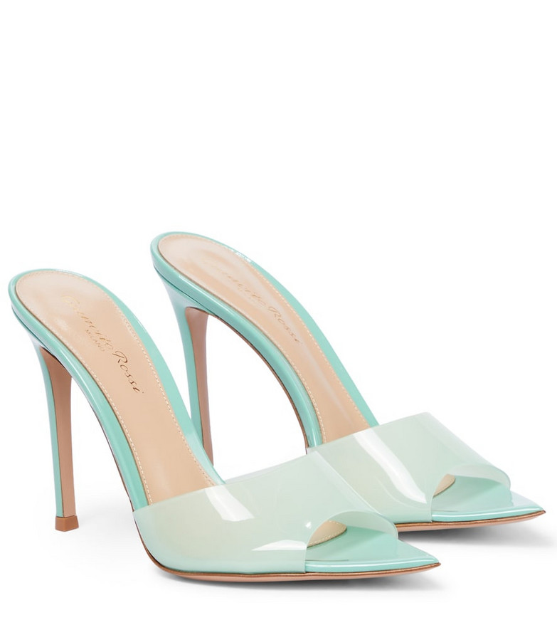 Gianvito Rossi Elle 85 leather-trimmed sandals in blue