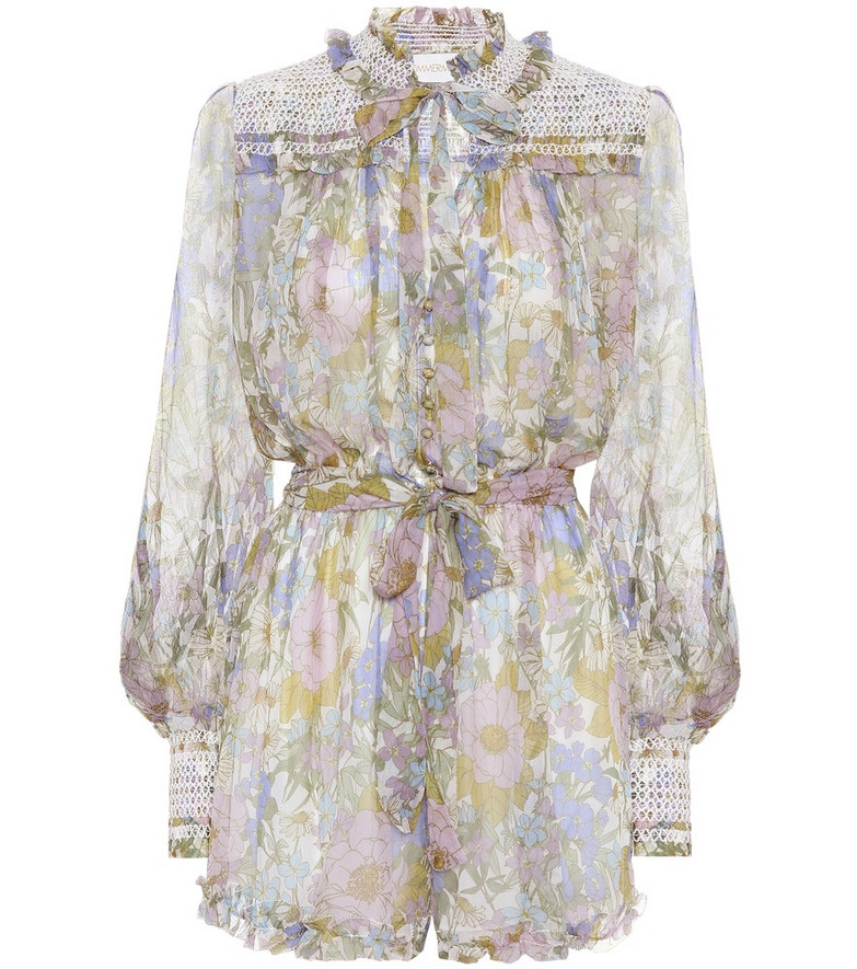 Zimmermann Super Eight floral silk playsuit in blue