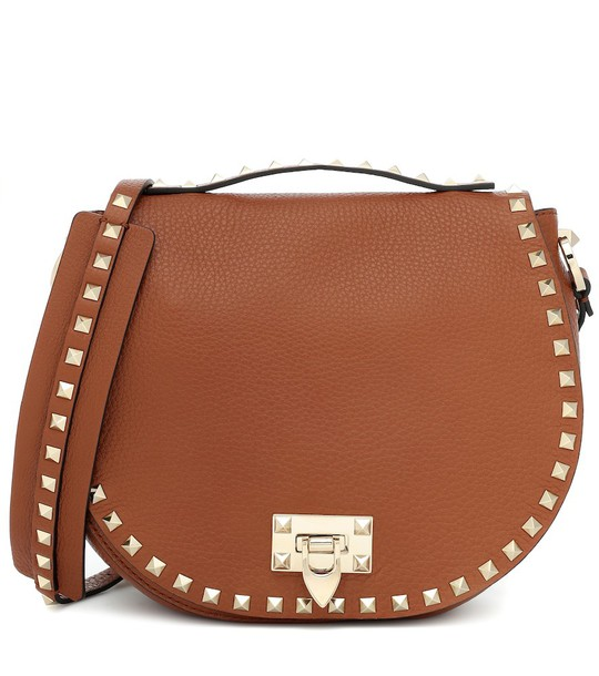 Valentino Garavani leather shoulder bag in brown