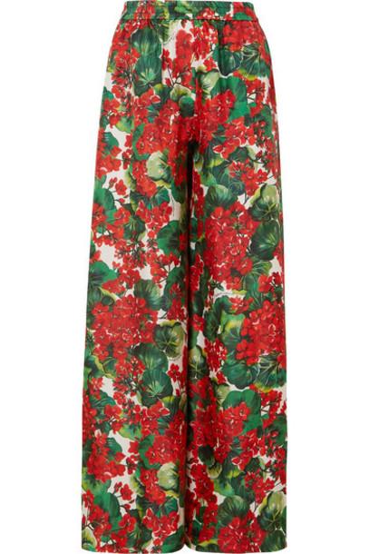 Dolce & Gabbana - Floral-print Silk-twill Wide-leg Pants - Red