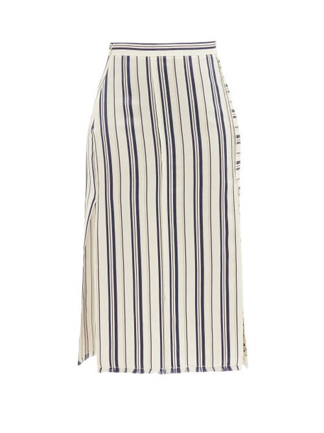 Altuzarra - Scrimshaw Striped Side-slit Satin Midi Skirt - Womens - White Stripe