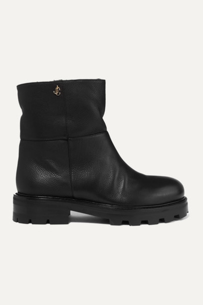 Jimmy Choo - Haysel Shearling-lined Leather Ankle Boots - Black