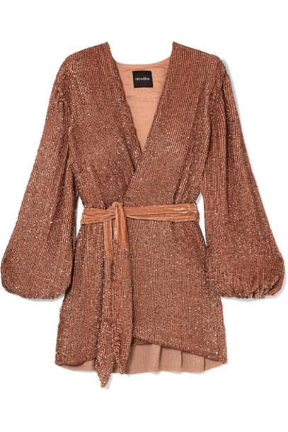 Retrofête - Gabrielle Velvet-trimmed Sequined Chiffon Mini Wrap Dress - Bronze