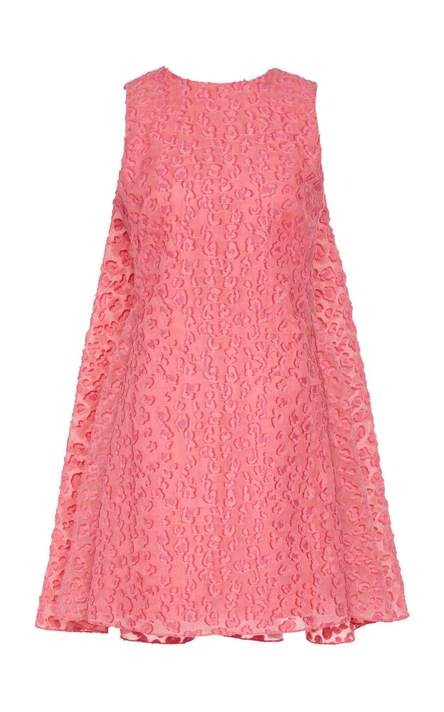 Brandon Maxwell Leopard-Print Fil Coupé Crepe Mini Dress Size: 4 in pink