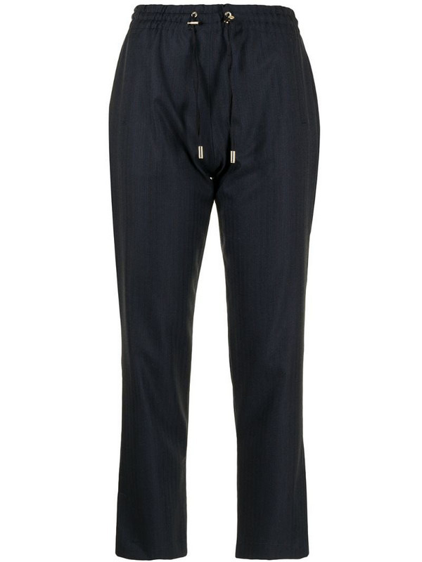 Colombo wool-cashmere blend drawstring cropped trousers in blue
