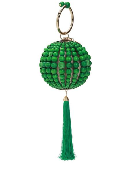 ROSANTICA Billie Beaded Sphere Top Handle Bag in green