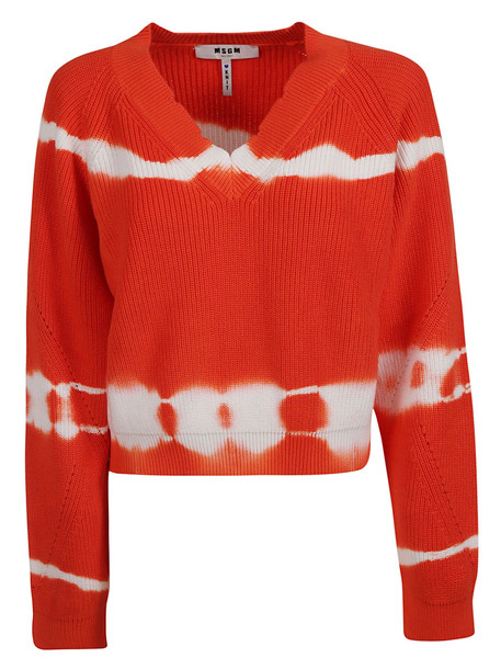 Msgm Knitted Sweatshirt in red