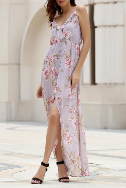 dress floral slit dress summer spring romantic summer dress fashion style dressfo