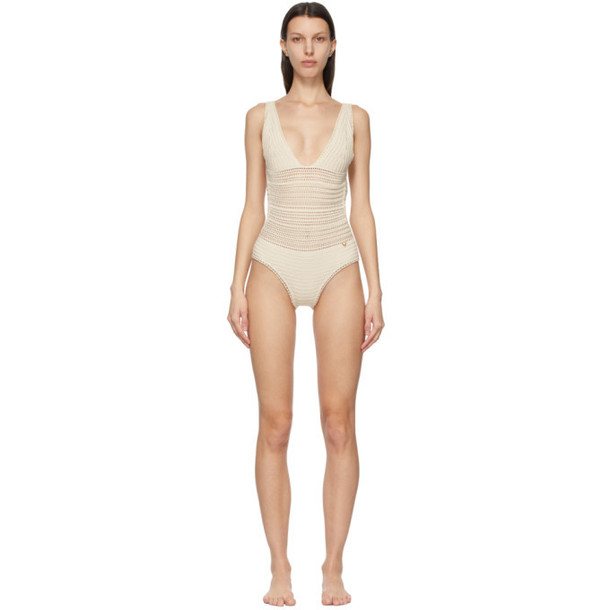 Valentino Off-White Cotton Crochet One-Piece Swimsuit in ivory