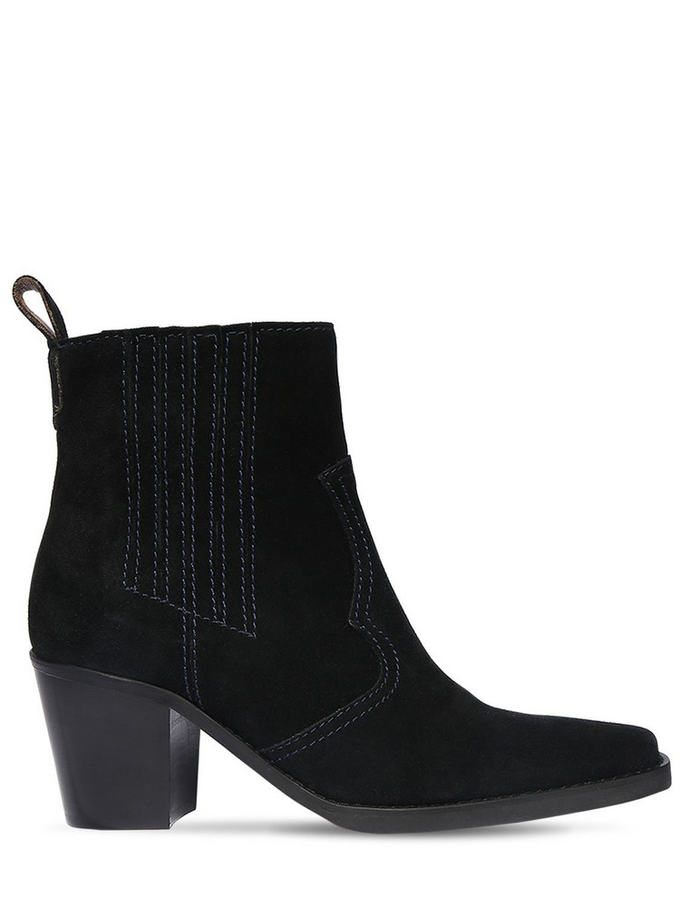 GANNI 90mm Suede Ankle Boots in black