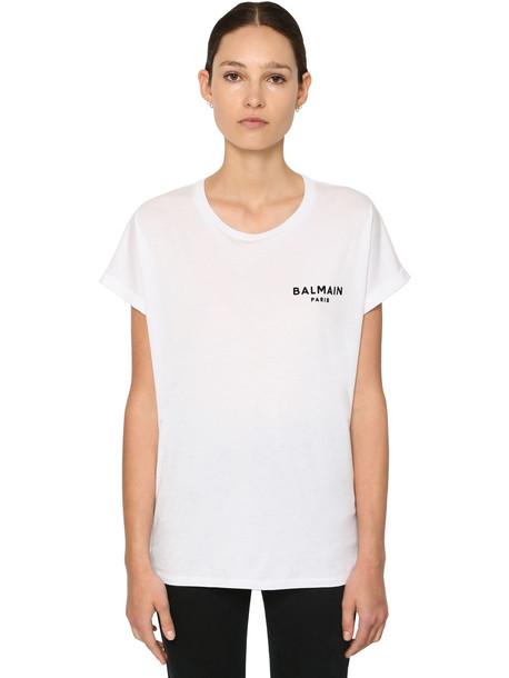 BALMAIN Flocked Logo Cotton Jersey T-shirt in white