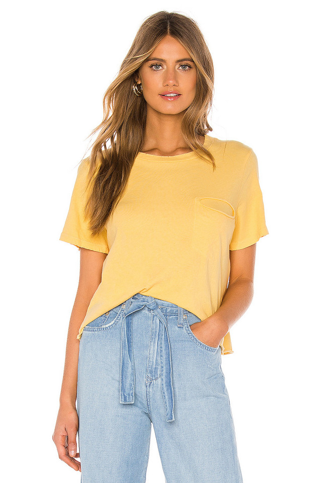 LA Made Cydney Distressed Pocket Tee in yellow