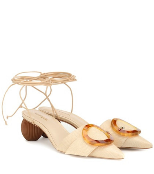 Cult Gaia Liya embellished raffia sandals in beige