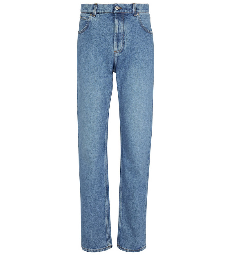 LOEWE Anagram leather-trimmed tapered jeans in blue
