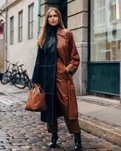 pants,leather pants,high waisted pants,straight pants,black boots,heel boots,long coat,leather,brown bag,handbag,leather bag,black turtleneck top