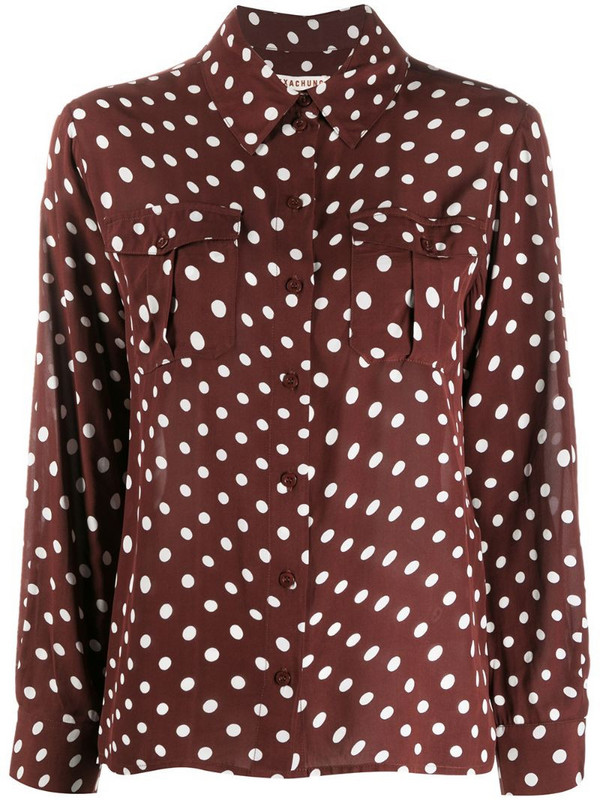 Alexa Chung polka dot print long-sleeve shirt in brown