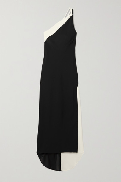 De La Vali - Evita One-shoulder Two-tone Crepe Gown - Black