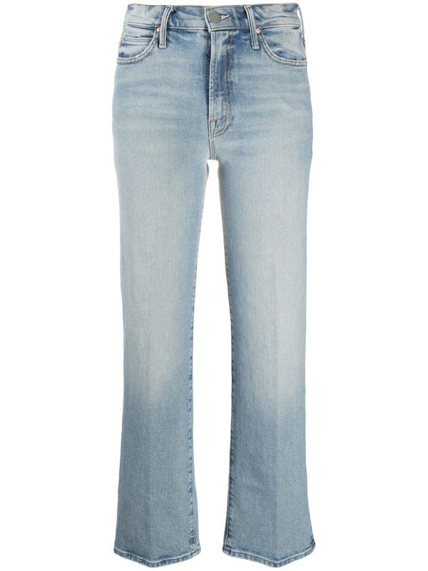 Mother light wash cropped jeans in blue