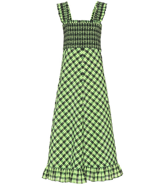 Ganni Checked seersucker maxi dress in green
