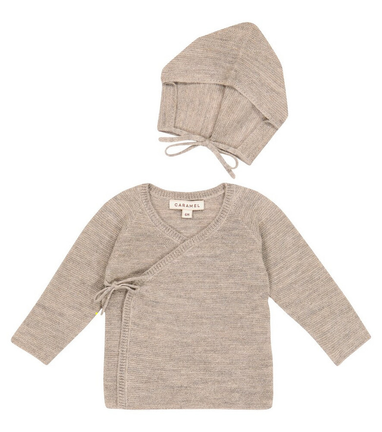 Caramel Baby Angelfish wool and linen cardigan and hat set in beige
