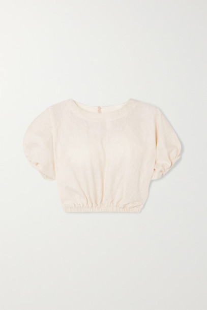 Matteau - Cropped Gathered Linen And Cotton-blend Top - Ivory