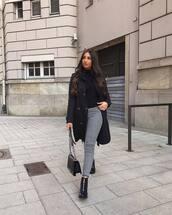 pants,high wasited pants,tartan,black and white,black boots,ankle boots,black bag,black coat,black sweater,turtleneck sweater