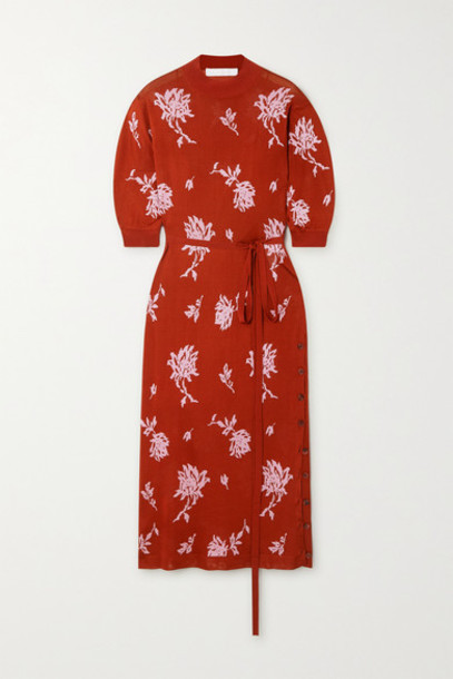 Chloé Chloé - Belted Floral-jacquard Midi Dress - Orange