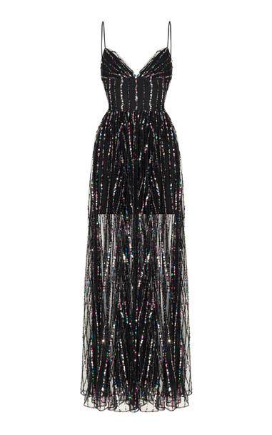 Rasario Sequined Tulle Maxi Gown Size: 34 in black