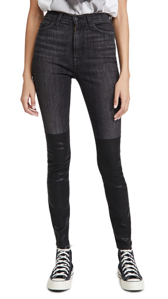 7 For All Mankind Coated Boot High Waist Skinny Jeans in black
