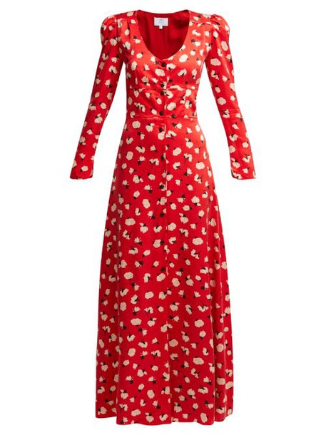 Rebecca De Ravenel - Floral Print Silk Maxi Dress - Womens - Red Multi