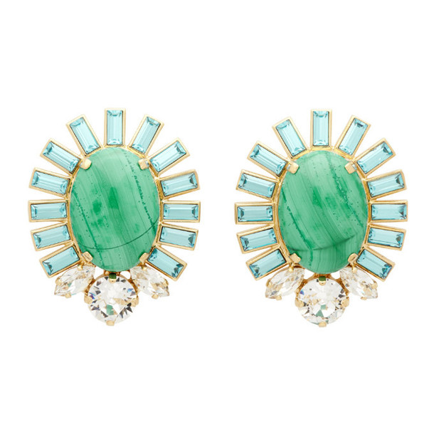 Dolce and Gabbana Gold and Blue Oval Stone Clip-On Earrings