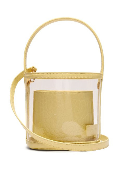 Staud - Bissett Pvc And Leather Bucket Bag - Womens - Yellow