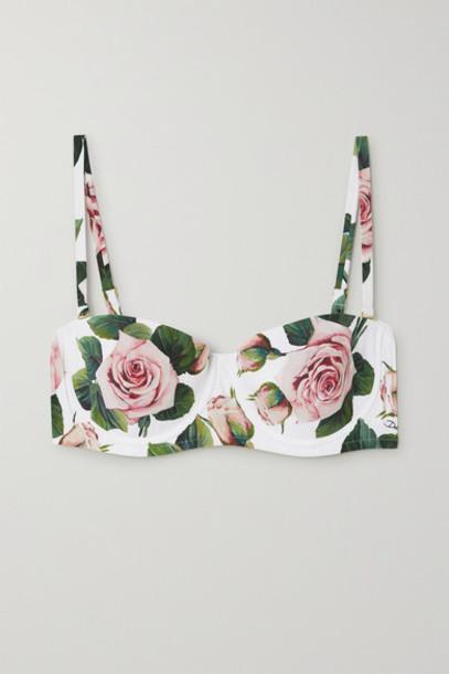 Dolce & Gabbana - Floral-print Underwired Bikini Top - White