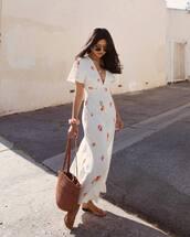 dress,white dress,zara,maxi dress,short sleeve dress,v neck dress,slide shoes,shoulder bag,floral dress