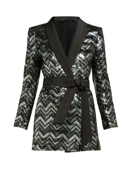 Blazé Milano - Funky Fred Zigzag Silk Blend Blazer Mini Dress - Womens - Silver Multi