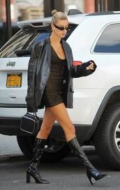jacket,leather,leather jacket,mini dress,celebrity,boots,hailey baldwin,model off-duty
