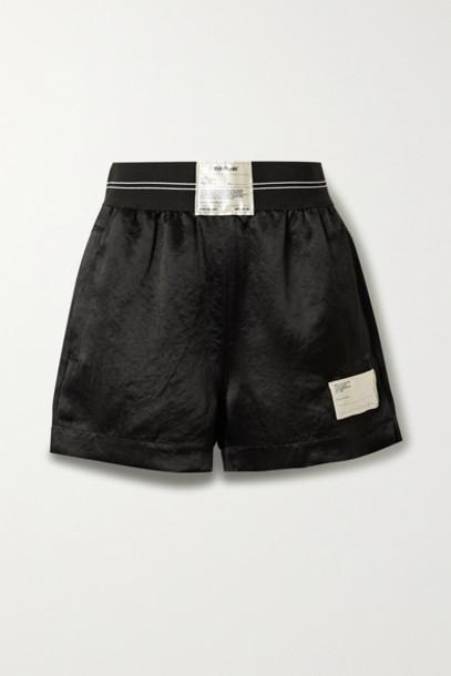 Helmut Lang - Appliquéd Jacquard-trimmed Satin Shorts - Black