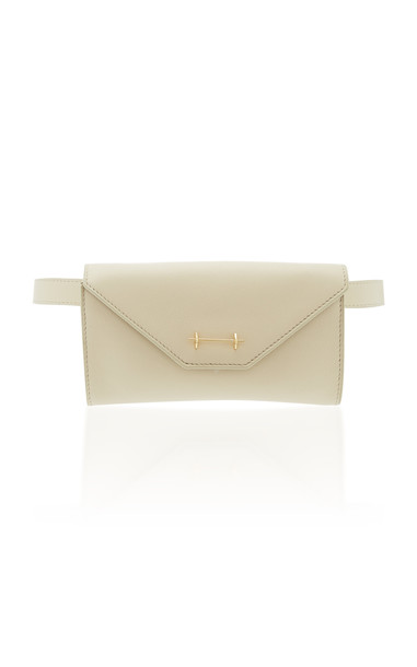 M2Malletier Leather Belt Bag in white