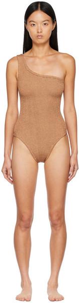 Hunza G Brown Nancy One-Shoulder One-Piece Swimsuit in metallic