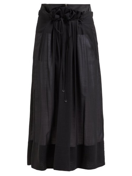 Tibi - Gauze Overlay Wool Blend Midi Skirt - Womens - Black