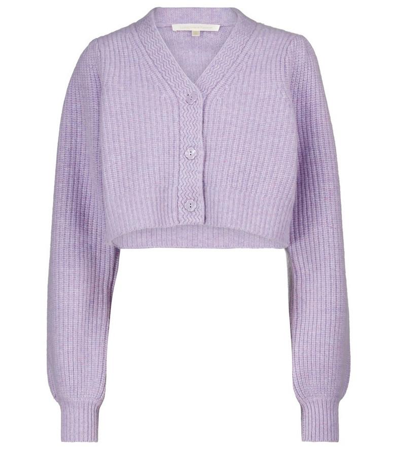 LOVESHACKFANCY Avignon wool-blend cardigan in purple