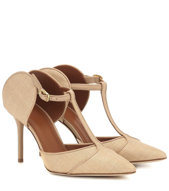 Malone Souliers Imogen 85 raffia and leather mules in beige