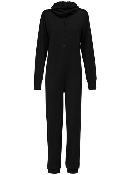 LEMAIRE Wool Blend Knit Jumpsuit in black