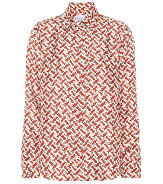 Burberry Monogram silk-twill shirt in red