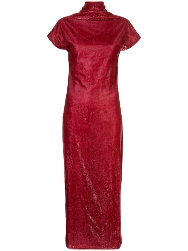 Paula Knorr draped velvet dress in red