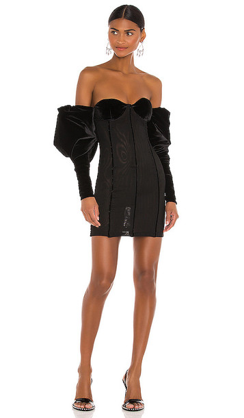 LaQuan Smith Off Shoulder Puff Sleeve Dress in Black