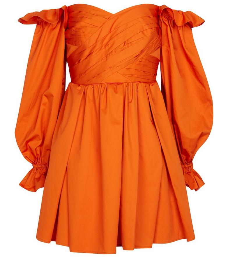 Self-Portrait Off-shoulder cotton minidress in orange
