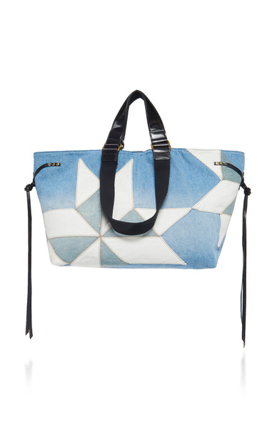 Isabel Marant Wardy Paneled Denim And Leather Tote in blue